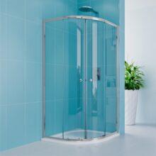 Sprchový set z Kory Lite, čtvrtkruh, 90 cm, chrom ALU, sklo Čiré a vaničky z litého mramoru